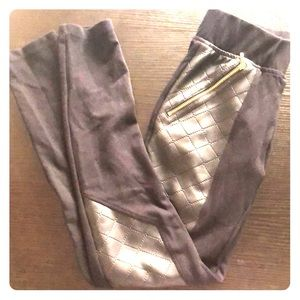 Guess Fashion Leather Leggings Gold Zipper X-Small